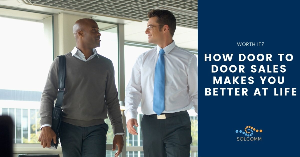Successful sales reps walking and talking with article title on the right